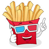 French Fries Paper Bag with 3d Glasses royalty free stock photos