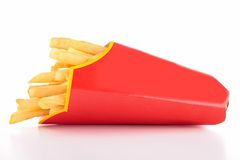 French fries in paper bag Royalty Free Stock Photo