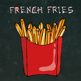 French Fries in Paper Box. Fried Potato Fast Food in a Red Package. Realistic Hand Drawn Doodle Style Sketch.Vector Stock Image