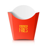 French fries paper box. On white stock illustration