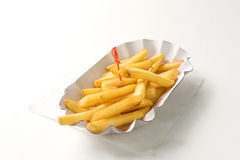 French fries in paper plate on white background Royalty Free Stock Images