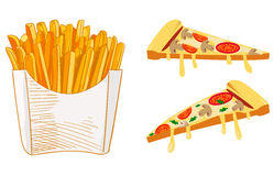 French Fries and pizza slice sketch, hand drawn fast food VECTOR illustration. Colored sketch. French Fries and pizza slice sketch, hand drawn fast food VECTOR Royalty Free Stock Image
