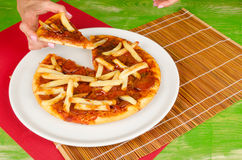 French fries with pizza Stock Photography