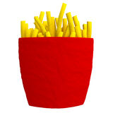 French fries from plasticine or clay in the red package. Royalty Free Stock Images