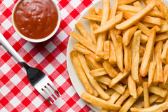 French fries on plate with ketchup Royalty Free Stock Photo