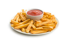 French fries on plate with ketchup Royalty Free Stock Photos