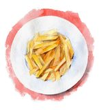 French fries on a plate on red background. The view from the top. Hand drawn watercolor illustration. French fries on a plate on red background. Hand drawn Stock Images