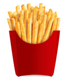 French fries in popular red box. Golden french fries in popular red box with clipping path Stock Photo