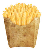 French fries in potato packaging. Golden french fries in potato packaging, on white background Royalty Free Stock Image
