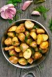 French fries potato in pan Royalty Free Stock Photo