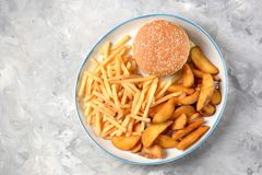 French fries -  potato stick and potato wedges in hot bread. Top view. Copy space. French fries - potato stick and potato wedges in hot bread. Top view. Copy Royalty Free Stock Photo