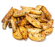 French fries potato wedges in country styled  on white backgroun Stock Photo