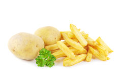 French fries and potatoes Royalty Free Stock Photo