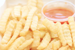 French fries potatoes with ketchup Stock Photos