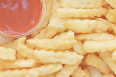 French fries potatoes with ketchup Royalty Free Stock Photo