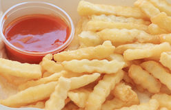 French fries potatoes with ketchup Stock Image