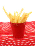 French fries potatoes in a red cup Stock Image