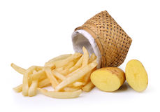 French fries and potatoes on white background Royalty Free Stock Photography