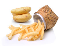 French fries and potatoes on white background Stock Photos