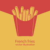 French fries in red box. French fries in paper red box, icon.Vector illustration, flat design. Fast food icon. Template banner for advertising, promotion. Space royalty free illustration