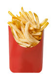 French fries in a red cardboard box. Isolated on white Stock Photos