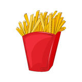 French fries in a red cardboard box. Vector illustration. Cartoon style. Isolated object. Fast food product Stock Photo