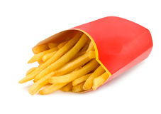 French fries in a red carton box isolated Stock Image