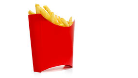 French fries. In a red carton box isolated on white Royalty Free Stock Photos