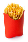 French fries. French fries in a red carton box, isolated on the white background, clipping path included Royalty Free Stock Image