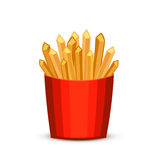 French fries in red package. Fast food french fries in paper pac Stock Photography