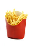 French fries in a red paper wrapper isolated on white background Stock Image