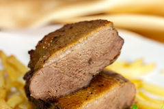 French fries,roasted breast of duck Stock Photography