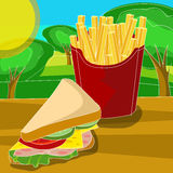 French fries and sandwich Stock Photography
