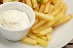 French fries with sauce Royalty Free Stock Images