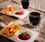 French fries and sauce dish with  kvass Royalty Free Stock Image