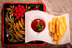 French fries and sauce dish with Russian kvass on napkin Royalty Free Stock Photos