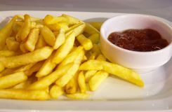 French fries with sauce. Fast food Stock Photos