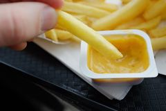 French fries and sauce in a fast food restaurant stock photo