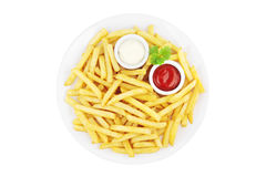 French fries with sauces Royalty Free Stock Images