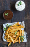 French fries and sauces Stock Photos