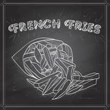 French fries scetch on a black board Stock Image