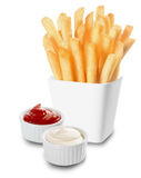 French Fries served with mayo and ketchup stock photo