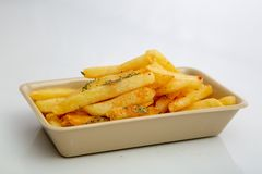 French fries in serving tray royalty free stock photo
