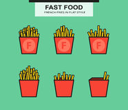 French fries set in flat style Royalty Free Stock Photos