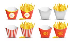 French Fries Set Vector. Classic Paper Bag. Tasty Fast Food Potato. Fast Food Icons Potato. Empty And Full. Isolated.  Stock Images