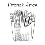 French Fries sketch, hand drawn fast food VECTOR illustrtion. Outline sketch. Black lines. French Fries sketch, hand drawn fast food VECTOR illustrtion. Outline Stock Photography