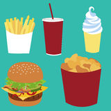 French fries, soda coke, ice-cream, cheeseburger, nuggets bucket fast food. Stock Photos