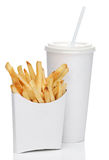 French fries and soda isolated Royalty Free Stock Photo