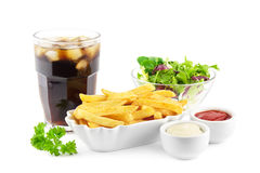 French fries with soda and salad Stock Photos