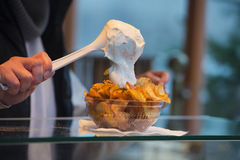 French fries street food with sauces ketchup and mayonnaise Royalty Free Stock Photography